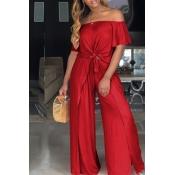 Lovely Euramerican Dew Shoulder Side Slit Red Two-piece Pants Set
