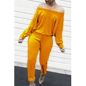 Lovely Casual Dew Shoulder Yellow Cotton Blends One-piece Jumpsuit