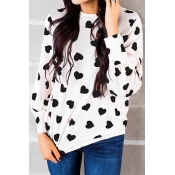 Lovely Round Neck Heart-shaped Printed Black T-shi