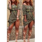 Lovely Euramerican Letters Printed Army Green Knee Length Dress