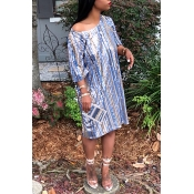 Lovely Fashion Striped Sequined Decorative Light Blue Blending Knee Length Dress(With Lining)