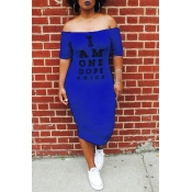 Lovely Euramerican Letters Printed Blue Twilled Satin Mid Calf Dress