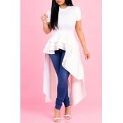 Lovely Casual Asymmetrical Falbala Design White  Floor Length Dress