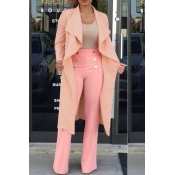 Lovely Casual Turndown Collar Long Pink Trench Coa