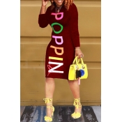 Lovely  Casual Long Sleeves Letter Printed Wine Red Blending Knee Length Dress