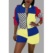 Lovely Trendy Patchwork Yellow One-piece Rompers
