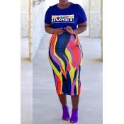 Lovely Euramerican Letters Printed Royalblue Two-piece Skirt Set