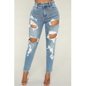 Lovely  Casual Broken Holes Light Blue Jeans
