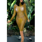 Lovely Sexy Long Sleeves See-through Golden Knee L