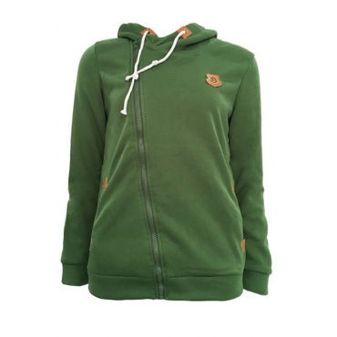 Lovely Casual Drawstring Green Cotton Hoodies