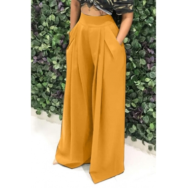 Lovely Casual Loose Yellow Knitting Pants