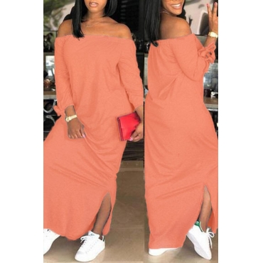 Lovely Casual Dew Shoulder Slit Hem Light Pink Ankle Length Dress