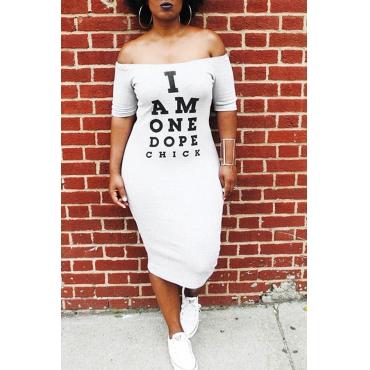 Preciosas Letras Euramerican Impresas En Blanco Satinado A Media Pierna Vestido