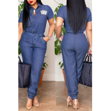 Lovely Casual Loose Blue Denim One-piece Jumpsuit