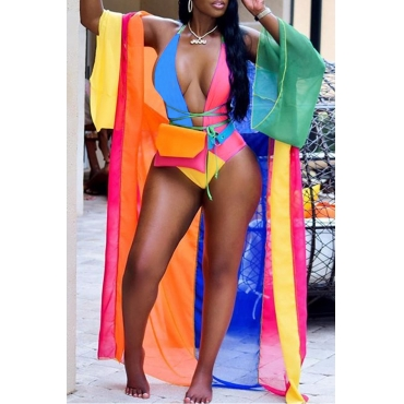Lovely Casual Patchwork Skinny Multicolor One-piece Swimwear(Include Coat and Belt ,Without Bag)