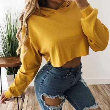 Lovely Casual Expose Navel Short Yellow Hoodies