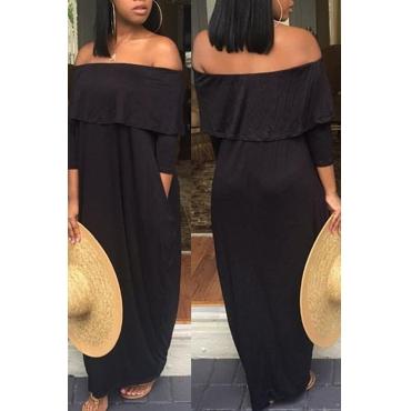 Lovely Casual Dew Shoulder Loose Black Floor Length Dress