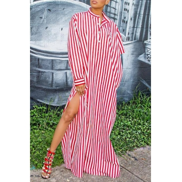 Lovely Street Style Striped Red Cotton Blends  Floor Length Dress
