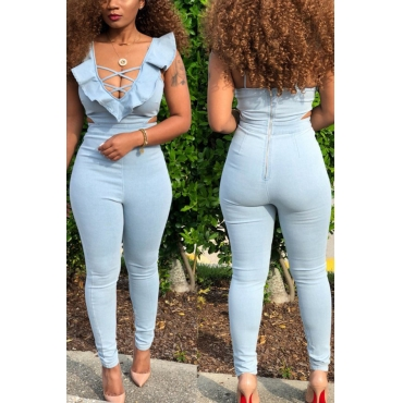 Lovely Euramerican Hollowed-out Light Blue Twilled Satin One-piece Jumpsuit