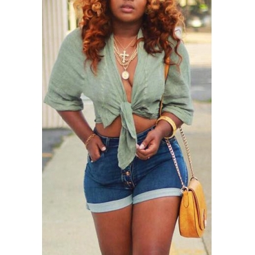 Lovely Casual V Neck Lace-up Green Blouses