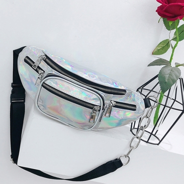 Lovely  Fashion  Zipper Design  Silver Patent Leather Crossbody