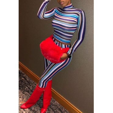 Lovely Casual Striped Blue Qmilch Two-piece Pants Set