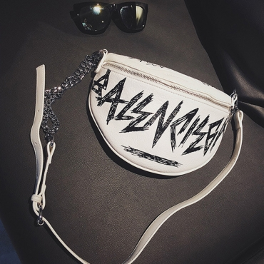 Lovely Euramerican Letters Printed White Patent Leather Messenger