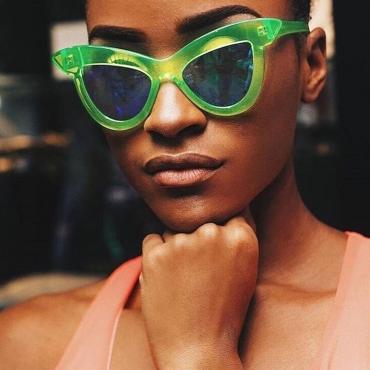 Lovely Fashion Cat s Eye Frame Design Green PC Sunglasses