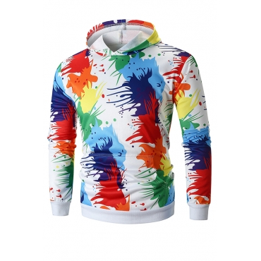 Lovely  Street Style Printed Multicolor Cotton Hoodies(Batch Print)