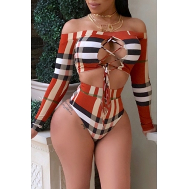 Lovely Casual Grids Printed Hollow-out Red Two-Piece Swimwear Set