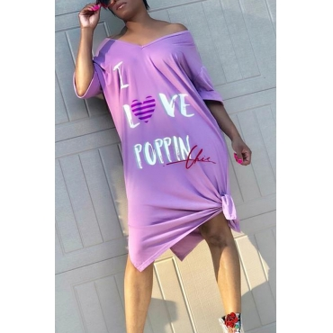 Lovely Euramerican  Letters Printed Loose Purple Cotton Blends Knee Length  Dress