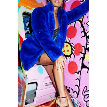 Lovely Casual Long Loose Blue Faux Fur Coat