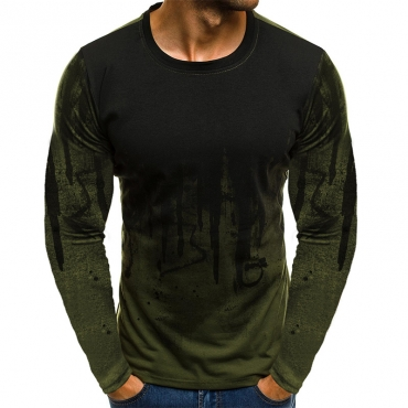 Lovely Casual Long Sleeves Army Green Cotton T-shirt (Positioning Printed)