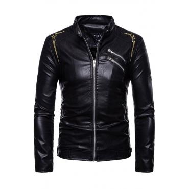 Lovely  Fashion  Long Sleeves Zipper Design  Black Sheepskin Leather