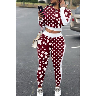 Lovely Casual   Star  Printed  Wine Red Two-piece Pants Set