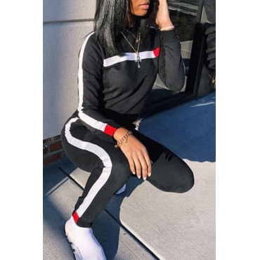 Lovely Casual Long Sleeve Patchwork Black Twilled Satin Two-piece Pants Set