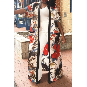 Lovely Casual Floral Printed  Long Multicolor Coat