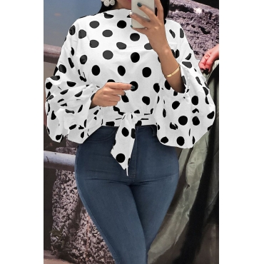 Lovely Trendy Dots Printed White Blouses