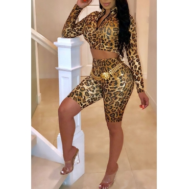 Lovely Casual Long Sleeves  Leopard Printed Blending Two-piece Shorts Set(Without Belt)