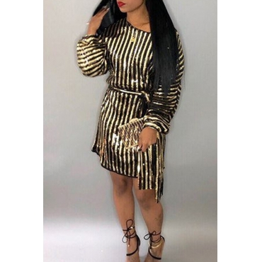Lovely  Euramerican Striped Long Sleeves Party  Golden Mini Dress