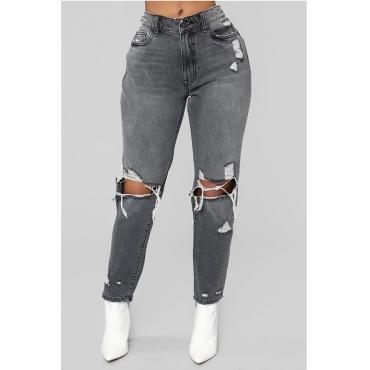 Lovely  Casual Broken Holes Deep Grey Jeans