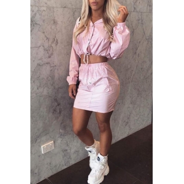 Lovely Casual Turndown Collar Long Sleeves Light Pink Two-piece Skirt Set