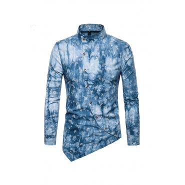 Lovely Casual Asymmetrical Light Blue Cotton Blends Shirt (Batch Print)