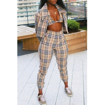 Lovely Casual Grids Printed Khaki Knitting Two-piece Pants Set(With Coat)