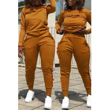 Lovely Euramerican Flounce  Spliced Orange Twilled Satin Two-piece Pants Set