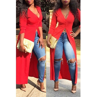 Lovely Casual Show Hilum Long Red Blouses