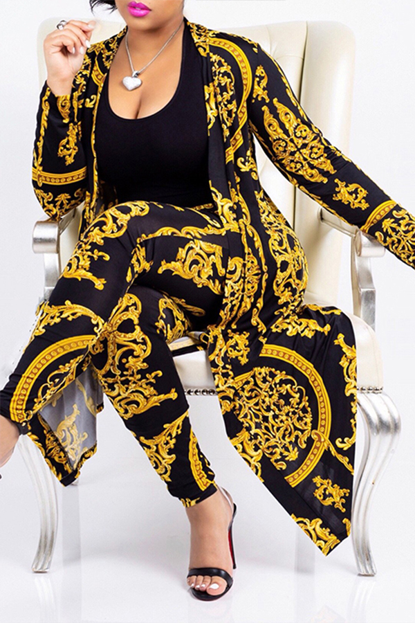 Lovely Casual Printed Golden Two-piece Pants Set