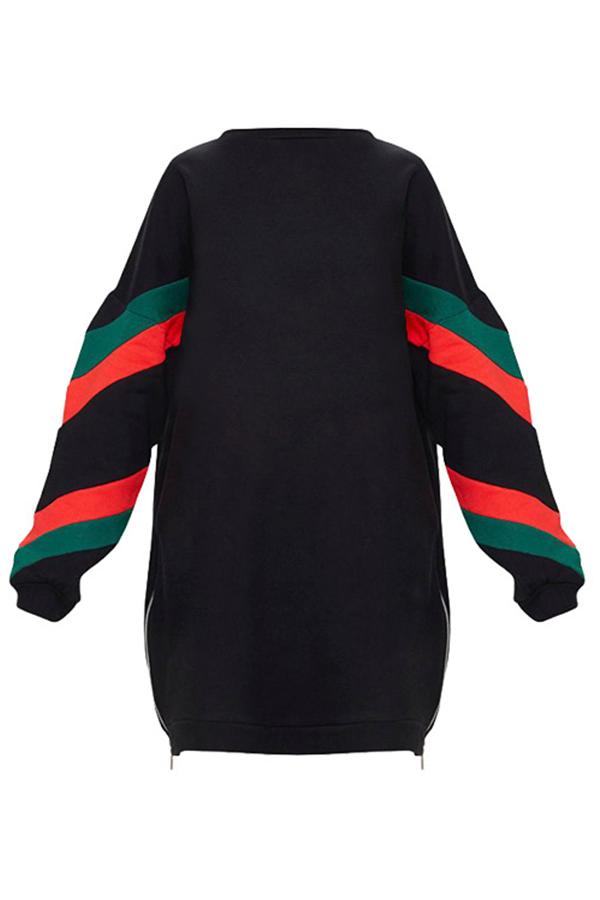 Lovely Euramerican Patchwork Black Mini Dress