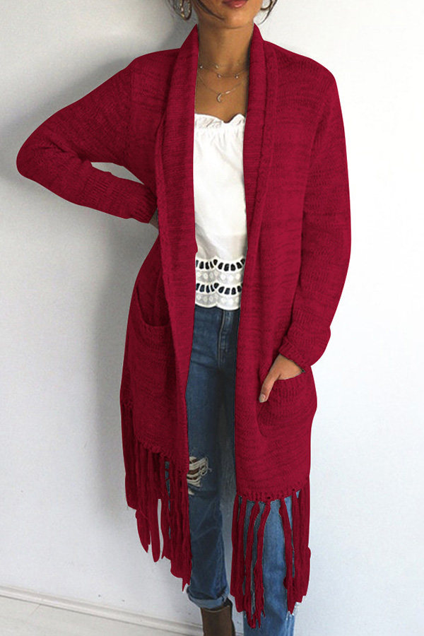 Lovely Casual Tassel Design Long Purplish Red Cotton Coat