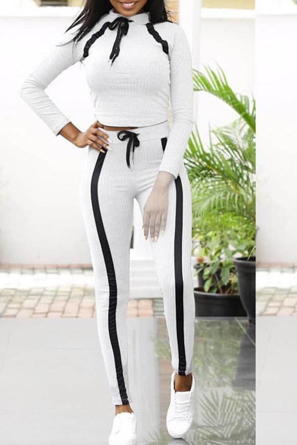 Lovely Sportswear Striped Grey Two-piece Pants Set